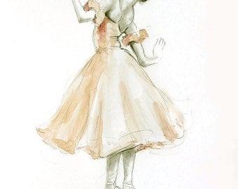 ... originale pittura/disegno 12x8 sul libro bianco della BALLERINA
