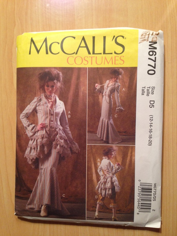 McCall's 6770 Sewing Pattern Misses Costume Jacket, Bustle/Capelet, Skirt and Pants Size 12-20