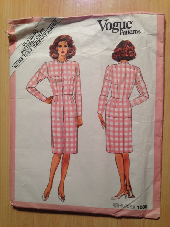 Vogue 80s Sewing Pattern 1000 Misses Fitting Shell Size 18