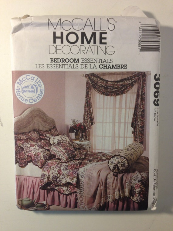McCall's Sewing Pattern 3069 Bedroom Essentials Window Treatments, Pillows, Pillow Shams, Coverlet, Duvet Cover and Dust Ruffle