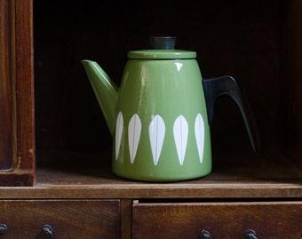 Vintage Cathrineholm Green Enamelware Lotus Design Coffee / Teapot - Norway