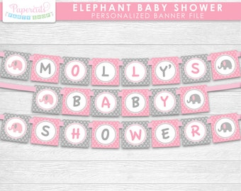 Elephant Theme Baby Shower Party Banner | Pink & Grey | Personalized | Printable DIY Digital File