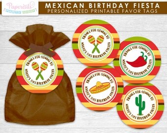 Mexican Fiesta Theme Birthday Party Favor Tags | Personalized | Printable DIY Digital File