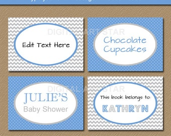 Boy Baby Shower Labels, Blue Gray Candy Buffet Labels, Tent Cards, Buffet Cards, PRINTABLE Baby Shower Favor Labels, Baby Boy Stickers BB1