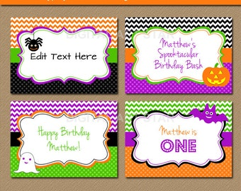 Halloween Chevron Candy Buffet Labels, EDITABLE Printable Tent cards, DIY Food Labels, Orange Black Halloween Place Cards - INSTANT Download