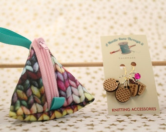 Knitting fabric limited edition Tiny Triangle bag and Knitting Stitch Markers Set. Pyramid bag, little knitting treasure bag