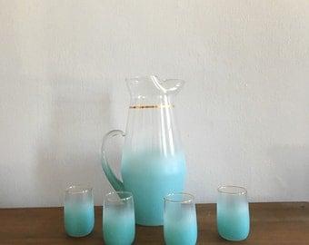 vintage atomic mid century blue aqua blendo glasses and pitcher set. retro regency tiki mid century juice glasses with pitcher