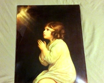 The Infant Samuel by Sir Joshua Reynolds Vintage Praying Child Lithograph  Under Curved  Glass About 12 x 16