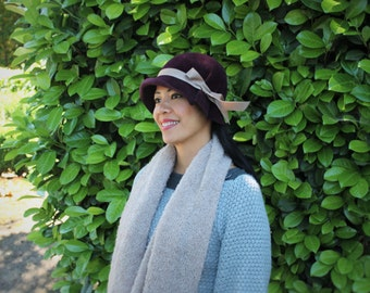 Custom Cloche Hat in Velour Felt  ~ Ingrid ~ rain hat, 30s, Bergman ~ handmade by Bonnet, local Portland millinery