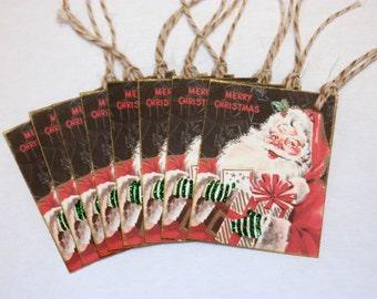 Christmas Gift Tags, Retro Style Gift Tags, Set of Gift Tags, Santa Gift Tags, Vintage Style Gift Tags, Kitchmas