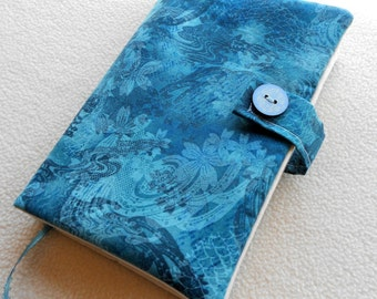 Blue flowers and shadows, padded protective paperback book cover, gifts gift, fabric cloth, purse tote case holder,