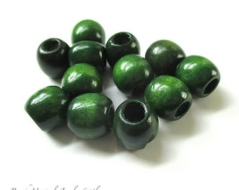 Dark Green Wood Beads, 10mm 12mm Wooden Beads, Chunky Boho Chic Beads, Large Hole Beads, Rustic Beads 12 Pieces