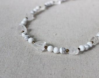 Quartz + Marble Necklace, Modern Statement Necklace