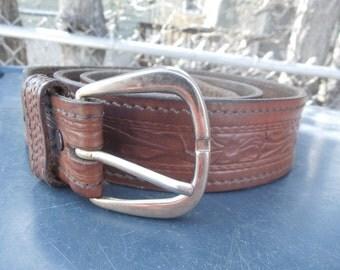 Tooled Leather Belt Floral Leaves Size 42 Vintage