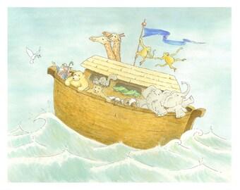 Nursery Wall Art Noah's Ark Print - Children's Kids Baby Room Decor - Near the Journey's End - 8x10
