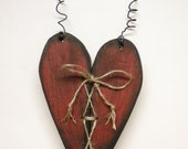 Primitive Heart Hanger, Painted Distressed Wood Heart, Valentine's Day Wall Decorations