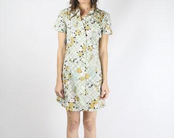 Mod Mini Dress, 60s Flower Power A-line Shirt Dress, Small 3725