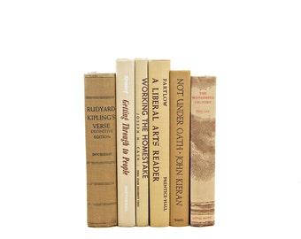 Vanilla Beige Book Decor, Brown Decorative Books, Old Book set, Wedding Decoration, Instant Library, Vintage Book Collection, Home decor