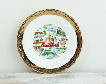 Vintage New York City Souvenir Plate w/ Gold Plated edge. See item details for full description.
