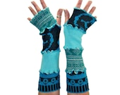 Teal Arm Warmers, Upcycled Clothing, Upcycled Arm Warmers, OOAK Arm Warmers, Teal Fingerless Gloves, Handmade Arm Warmers, Eco Fashion