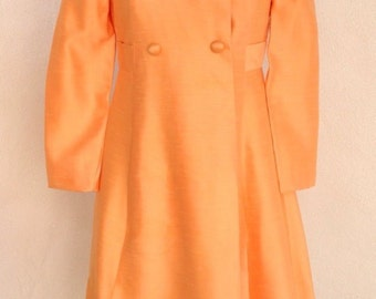 SALE Vintage mid century peach coat dress by Emma Domb SZ 7 small