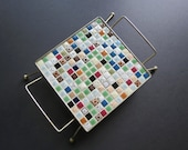 Mid Century Mosaic Trivet // Vintage Modern Style Tile Footed Trivet Pot Holder Rest Retro Kitchenware Hostess Cook Gift Idea Gold Wire