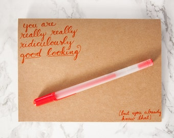 "Hand Lettered Blank Card Zoolander Quote ""You Are Really Really Ridiculously Good Looking"""