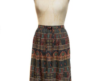 vintage 1970s paisley mixed print skirt / Ralph Creation / wool blend / fall autumnal / women's vintage skirt / size 38