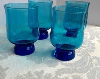 Vintage Teal Blue Glass Juice Tumbler Set / Blue Water Glasses