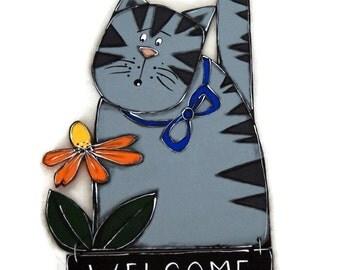 Welcome gray striped cat - Welcome door sign cat - Welcome door hanger gray cat