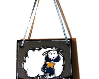 Mobile white sheep on gray plate - Gray ship door sign - Gray and white sheep door hanger