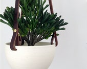 Hanging Planter in Ceramic and Recycled Leather - Limited Edition modern macrame - Galaxy no.26