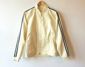 Vintage Brooks Brothers Cafe Jacket Striped Track Racing Jacket Cream White Mens Small Unisex 1980s
