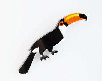 Toucan Designer Brooch, Tropical Bird Jewelry