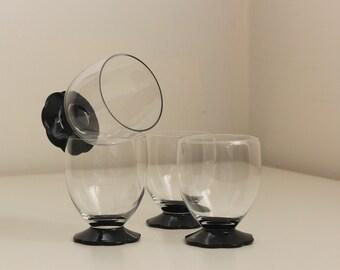 "Weston Lilly Pad Black Footed ""Wine"" Tumblers, Juice Glasses"