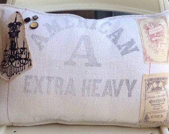 Sale! Was 32.50 Vintage flour grain sack chandelier pillow, rustic pillows, farmhouse pillows, vintage sack pillows