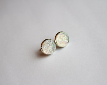 Clear Rainbow Faux Druzy Glitter Earrings - Posts/Studs 12mm LARGE (D13)