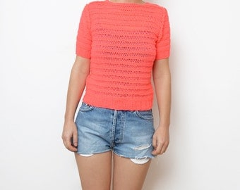 Vintage neon pink wool women 90s crop top