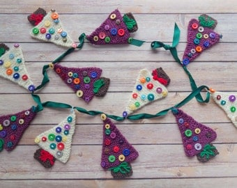 Knitted Christmas tree garland - homemade Christmas  - Christmas tree bunting - purple and cream Christmas tree bunting