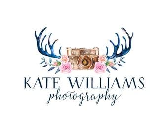 Photography Logo and Watermark, Deer Antlers Camera logo Design, Watercolor Blog Header Design 158