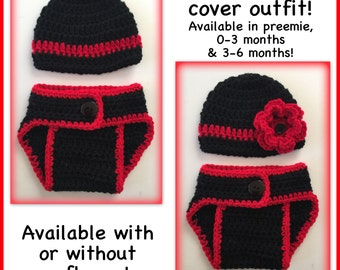 Baby outfit, crocheted hat and diaper cover, preemie, 0-3 months newborn 3-6 months black red thin red line, fireman baby, boy, girl flower