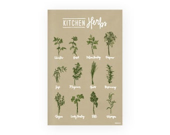 Kitchen Herbs Art Poster