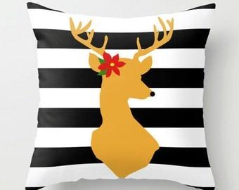 Holi-Deer Throw Pillow