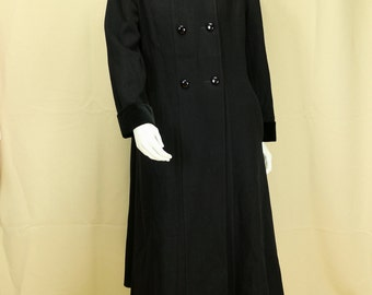 Womens vintage wool coat Winter Black double breasted coat Fitted long coat Maxi flared coat Full length princess coat Fit and flare coat