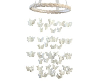 Ivory Cream Butterfly Mobile with Rose Ribbon Hoop - LARGE Size