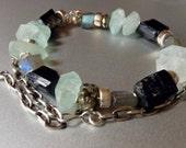 calm me. gemstone bracelet necklace aquamarine labradorite black tourmaline pyrite RAW OOAK BRUTAL