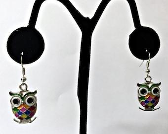 ER-102 Super Cute Multi Colored Owl Earrings