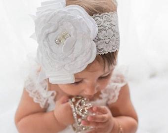 White Flower Girl Headband...Christening Headband..Vintage Baby Headband..Rustic Headband..Flower Girl Gift...Rustic Gold Headband.Baptism