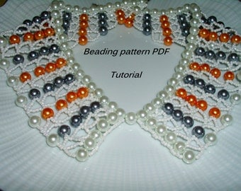 Necklace Peter Pan collar. Beading Tutorial. Beading pattern PDF. Instant download.