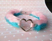 Furry Heart Choker Necklace, Pink Collar DDLG, BDSM Collar, Fairy Kei , Decora, Heart Turquoise Chocker, Pastel Grunge, Fuzzy Pink Teal